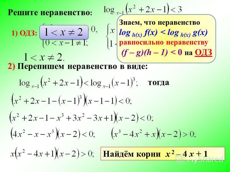 Решите неравенство : 1) ОДЗ: 2) Перепишем неравенство в виде: Знаем, что неравенство log h(x) f(x) < log h(x) g(x) равносильно неравенству (f – g)(h – 1) < 0 на ОДЗ тогда Найдём корни х 2 – 4 х + 1