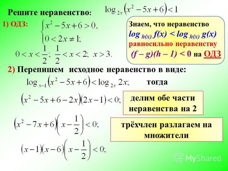 Решите неравенство : 1) ОДЗ: 2) Перепишем исходное неравенство в виде: Знаем, что неравенство log h(x) f(x) < log h(x) g(x) равносильно неравенству (f – g)(h – 1) < 0 на ОДЗ тогда делим обе части неравенства на 2 трёхчлен разлагаем на множители
