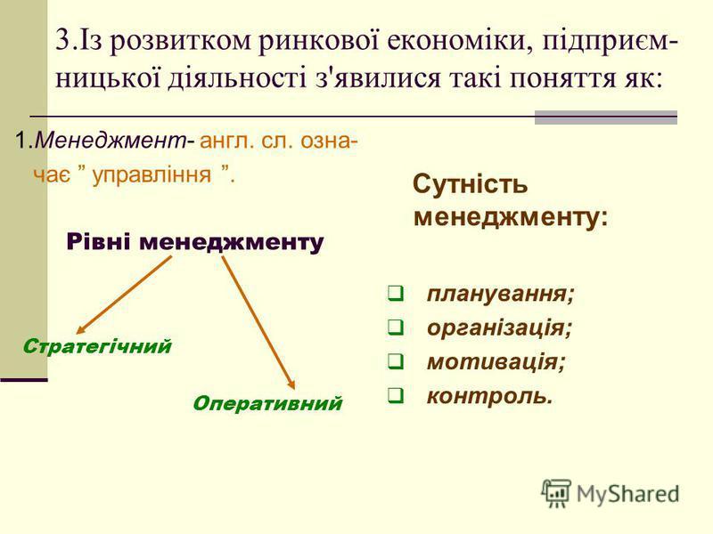 3.Із розвитком ринкової економіки, підприєм- ницької діяльності з'явилися такі поняття як: 1.Менеджмент- англ. сл. озна- чає управління. Рівні менеджменту Стратегічний Оперативний Сутність менеджменту: планування; організація; мотивація; контроль.