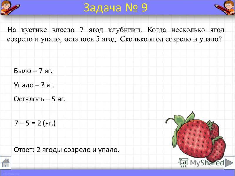 На кустике висело 7 ягод клубники. Когда несколько ягод созрело и упало, осталось 5 ягод. Сколько ягод созрело и упало? Было – 7 яг. Упало – ? яг. Осталось – 5 яг. 7 – 5 = 2 (яг.) Ответ: 2 ягоды созрело и упало. Задача 9
