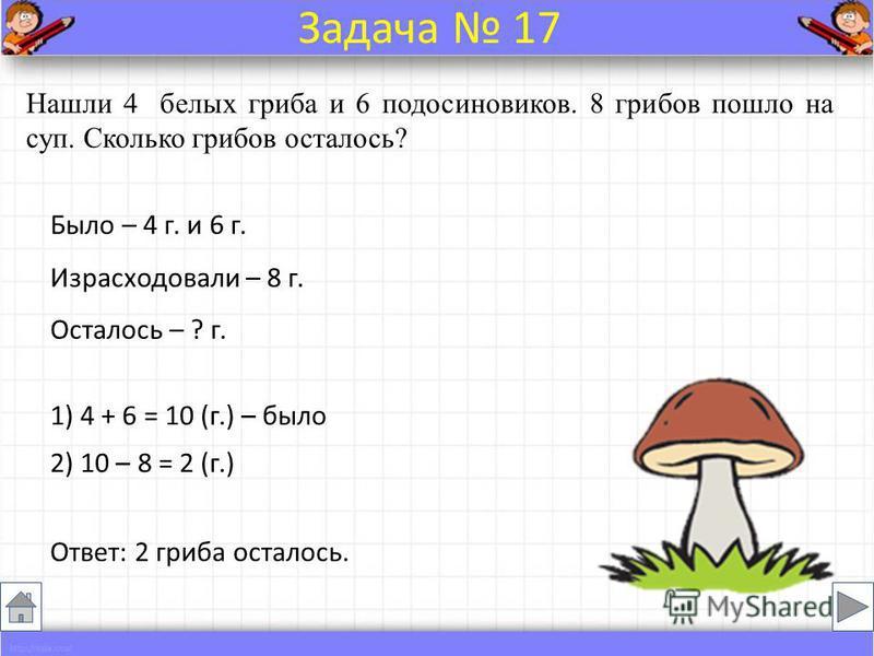 Было – 4 г. и 6 г. Израсходовали – 8 г. Осталось – ? г. Нашли 4 белых гриба и 6 подосиновиков. 8 грибов пошло на суп. Сколько грибов осталось? Ответ: 2 гриба осталось. Задача 17 1) 4 + 6 = 10 (г.) – было 2) 10 – 8 = 2 (г.)