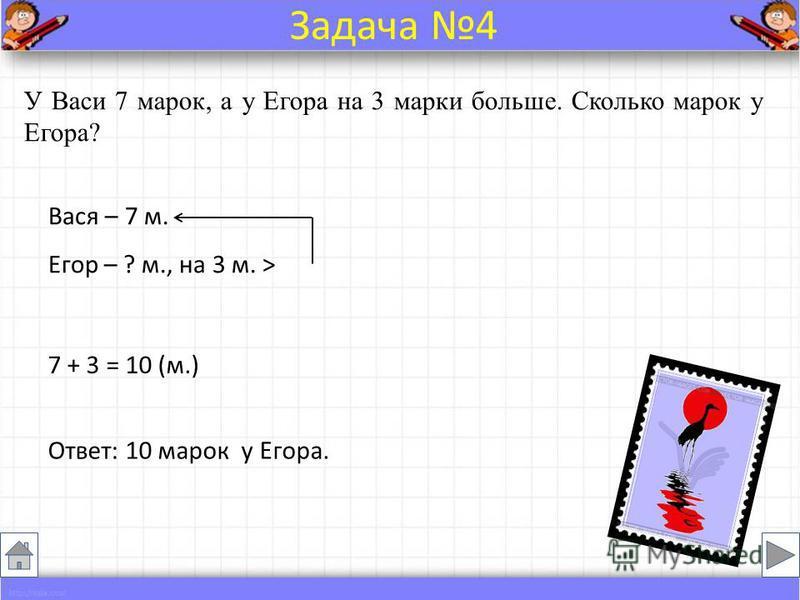 У Васи 7 марок, а у Егора на 3 марки больше. Сколько марок у Егора? Вася – 7 м. Егор – ? м., на 3 м. > 7 + 3 = 10 (м.) Ответ: 10 марок у Егора. Задача 4