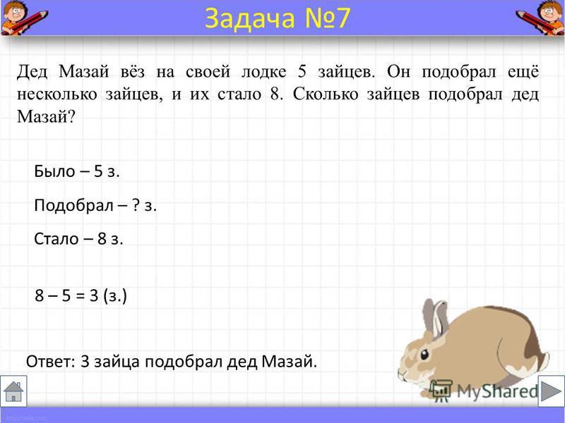 Дед Мазай вёз на своей лодке 5 зайцев. Он подобрал ещё несколько зайцев, и их стало 8. Сколько зайцев подобрал дед Мазай? Было – 5 з. Подобрал – ? з. Стало – 8 з. 8 – 5 = 3 (з.) Ответ: 3 зайца подобрал дед Мазай. Задача 7