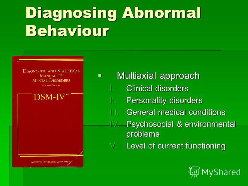 Diagnosing Abnormal Behaviour Multiaxial approach Multiaxial approach I.Clinical disorders II.Personality disorders III.General medical conditions IV.Psychosocial & environmental problems V.Level of current functioning