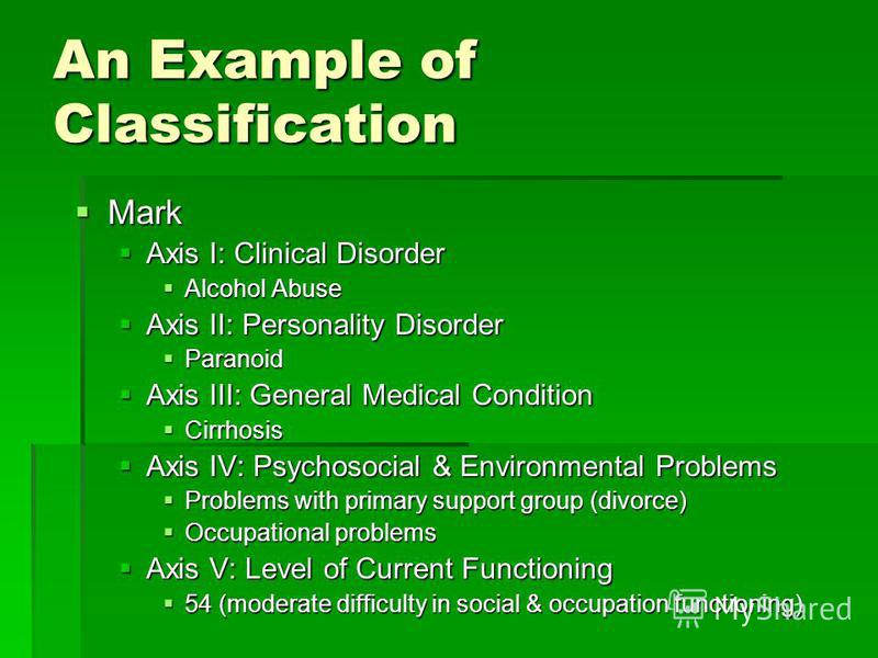 An Example of Classification Mark Mark Axis I: Clinical Disorder Axis I: Clinical Disorder Alcohol Abuse Alcohol Abuse Axis II: Personality Disorder Axis II: Personality Disorder Paranoid Paranoid Axis III: General Medical Condition Axis III: General
