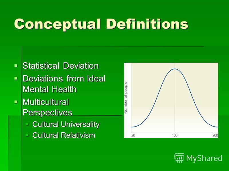 Conceptual Definitions Statistical Deviation Statistical Deviation Deviations from Ideal Mental Health Deviations from Ideal Mental Health Multicultural Perspectives Multicultural Perspectives Cultural Universality Cultural Universality Cultural Rela