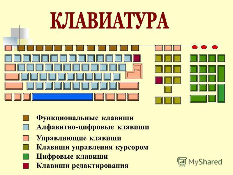 Функциональные клавиши Алфавитно-цифровые клавиши Управляющие клавиши Клавиши управления курсором Цифровые клавиши Клавиши редактирования