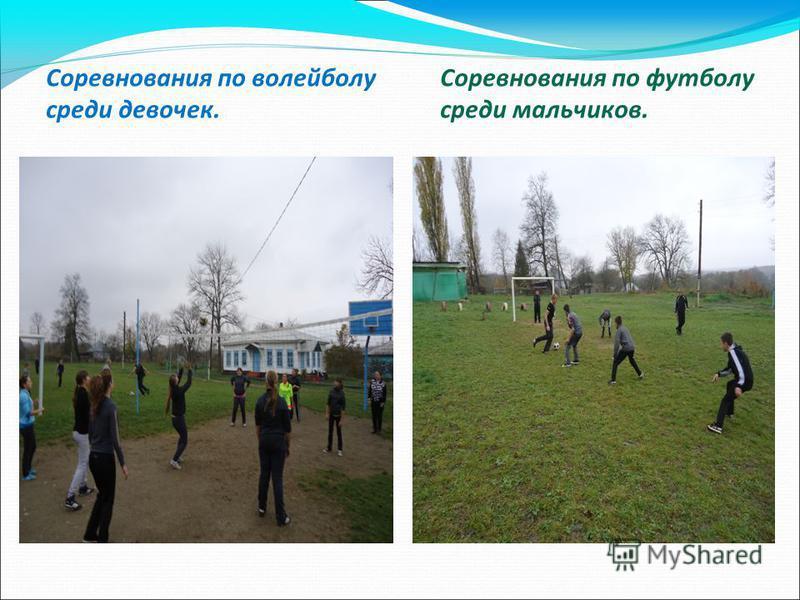 Соревнования по волейболу Соревнования по футболу среди девочек.среди мальчиков.