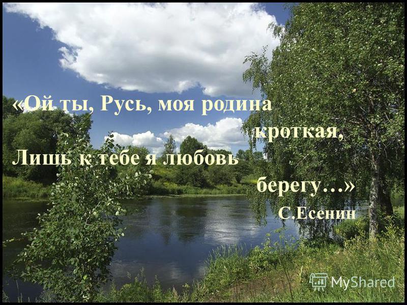 «Ой ты, Русь, моя родина кроткая, Лишь к тебе я любовь берегу…» С.Есенин