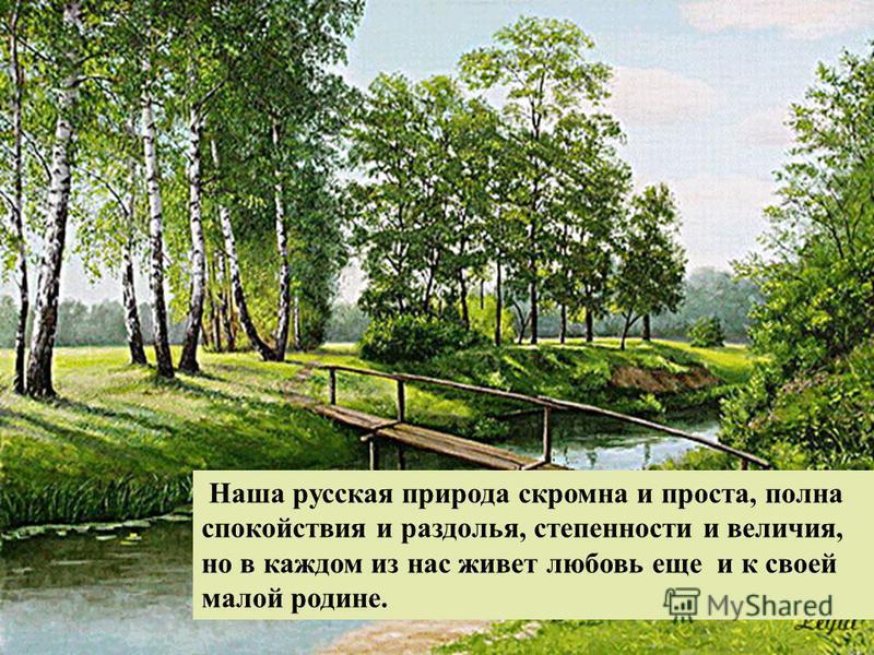 Наша русская природа скромна и проста, полна спокойствия и раздолья, степенности и величия, но в каждом из нас живет любовь еще и к своей малой родине.