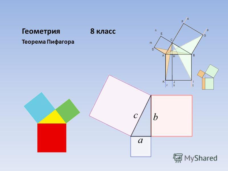 Геометрия 8 класс Теорема Пифагора