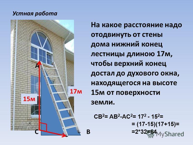 На какое расстояние надо отодвинуть от стены дома нижний конец лестницы длиною 17 м, чтобы верхний конец достал до духового окна, находящегося на высоте 15 м от поверхности земли. С А В Устная работа 17 м 15 м 17 2 - 15 2 =CB 2 = AB 2 -AC 2 = = (17-1