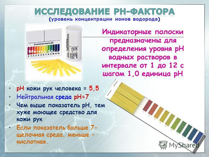 рН кожи рук человека = 5,5 Нейтральная среда pH=7 Чем выше показатель рН, тем хуже моющее средство для кожи рук Если показатель больше 7- щелочная среда, меньше - кислотная. Индикаторные полоски предназначены для определения уровня рН водных растворо