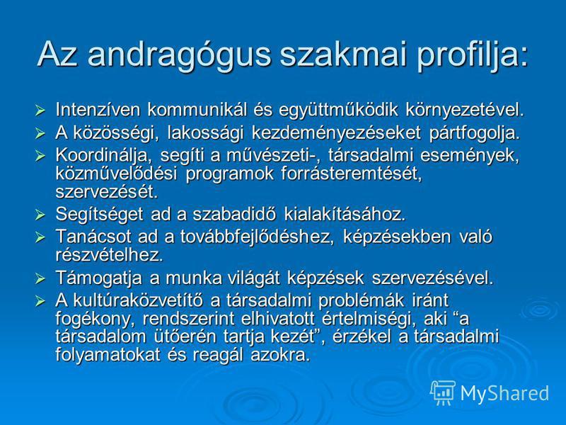 Az andragógus szakmai profilja: Intenzíven kommunikál és együttműködik környezetével. Intenzíven kommunikál és együttműködik környezetével. A közösségi, lakossági kezdeményezéseket pártfogolja. A közösségi, lakossági kezdeményezéseket pártfogolja. Ko