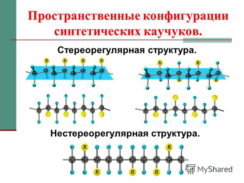 Пространственные конфигурации синтетических каучуков. Стереорегулярная структура. Нестереорегулярная структура.