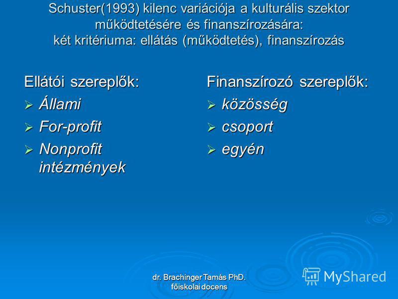 dr. Brachinger Tamás PhD. főiskolai docens Schuster(1993) kilenc variációja a kulturális szektor működtetésére és finanszírozására: két kritériuma: ellátás (működtetés), finanszírozás Ellátói szereplők: Állami Állami For-profit For-profit Nonprofit i