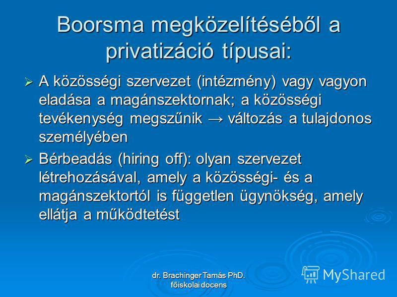 dr. Brachinger Tamás PhD. főiskolai docens Boorsma megközelítéséből a privatizáció típusai: A közösségi szervezet (intézmény) vagy vagyon eladása a magánszektornak; a közösségi tevékenység megszűnik változás a tulajdonos személyében A közösségi szerv