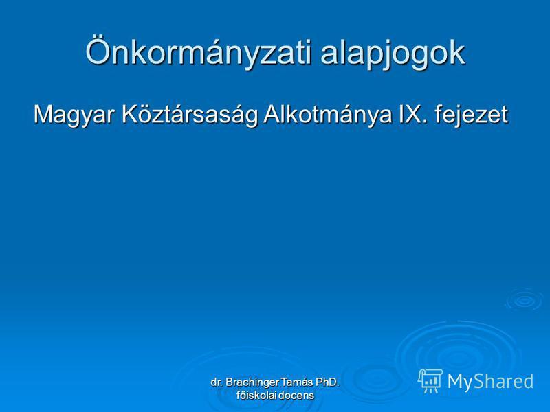 dr. Brachinger Tamás PhD. főiskolai docens Önkormányzati alapjogok Magyar Köztársaság Alkotmánya IX. fejezet