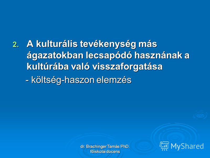 dr. Brachinger Tamás PhD. főiskolai docens 2. A kulturális tevékenység más ágazatokban lecsapódó hasznának a kultúrába való visszaforgatása - költség-haszon elemzés - költség-haszon elemzés