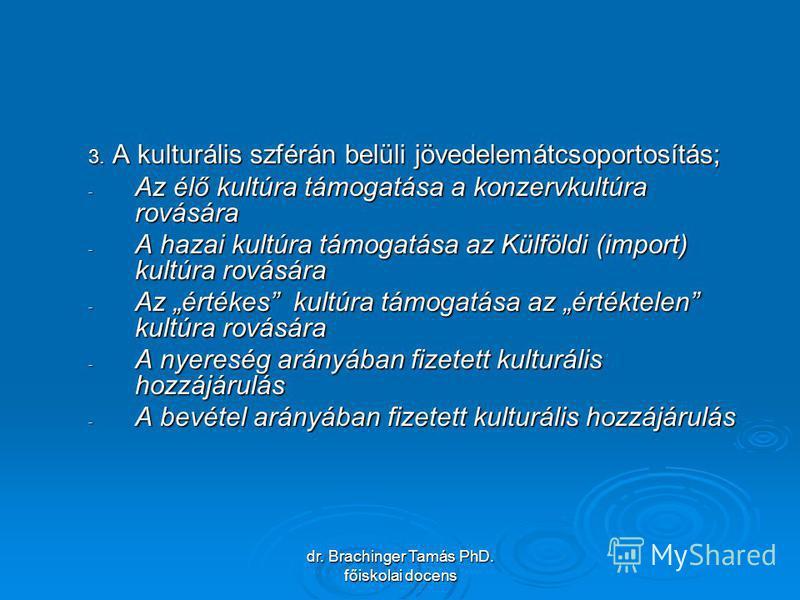 dr. Brachinger Tamás PhD. főiskolai docens 3. A kulturális szférán belüli jövedelemátcsoportosítás; - Az élő kultúra támogatása a konzervkultúra rovására - A hazai kultúra támogatása az Külföldi (import) kultúra rovására - Az értékes kultúra támogatá