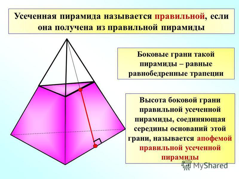 Усеченная пирамида называется правильной, если она получена из правильной пирамиды Боковые грани такой пирамиды – равные равнобедренные трапеции Высота боковой грани правильной усеченной пирамиды, соединяющая середины оснований этой грани, называется
