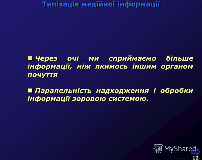 М.Кононов © 2009 E-mail: mvk@univ.kiev.ua 11 Слух Оцінка кількості інформації, що надходить за секунду по різних каналах Зір 2х20 кГц х 12 біт х 2(стерео) = 120 кБ/с 1000 х 1500 точок х 16 біт х 10 кадрів = = 30 МБ/с 1000 х 1500 точок х 16 біт х 10 к