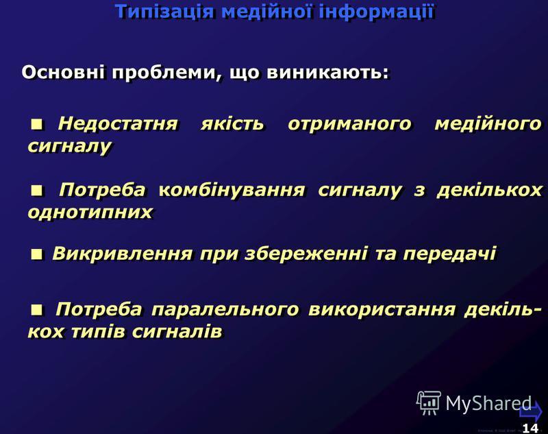 Людина Система відтворення Носій М.Кононов © 2009 E-mail: mvk@univ.kiev.ua 13 Система Запису Джерело сигналу Людина Джерело сигналу Медійні сигнали проходять через ланцюг перетворень, в тому числі зі зміною фізичної природи сигналу Типізація медійної