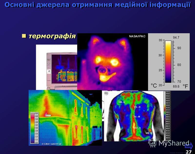 М.Кононов © 2009 E-mail: mvk@univ.kiev.ua 26 технічна та наукова фотографія Основні джерела отримання медійної інформації