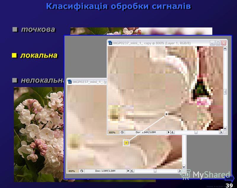 М.Кононов © 2009 E-mail: mvk@univ.kiev.ua 38 точкова локальна нелокальна Класифікація обробки сигналів