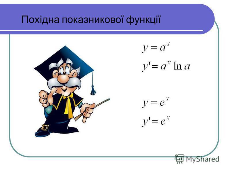Похідна показникової функції