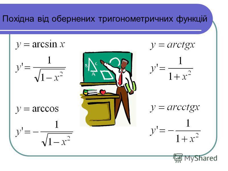 Похідна від обернених тригонометричних функцій