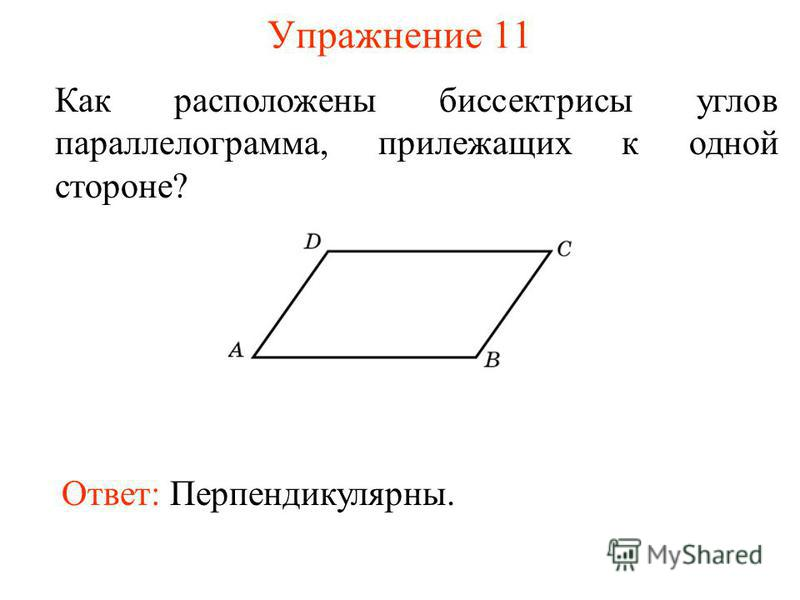 Упражнение 11 Как расположены биссектрисы углов параллелограмма, прилежащих к одной стороне? Ответ: Перпендикулярны.