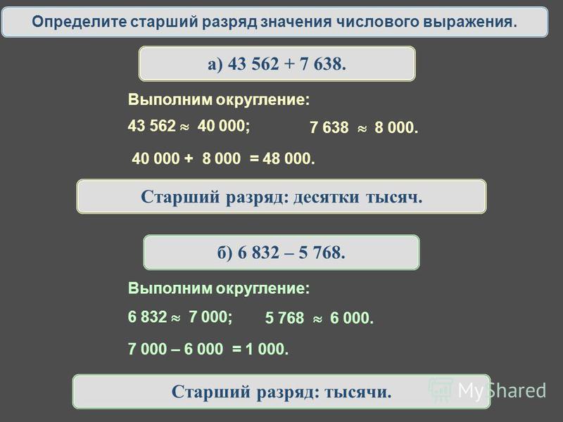 Определите старший разряд значения числового выражения. а) 43 562 + 7 638. 43 562 40 000; 7 638 8 000. Выполним округление: 40 000 + 8 000 = 48 000. Старший разряд: десятки тысяч. б) 6 832 – 5 768. 6 832 7 000; 5 768 6 000. Выполним округление: 7 000