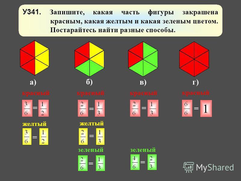 У341. Запишите, какая часть фигуры закрашена красным, какая желтым и какая зеленым цветом. Постарайтесь найти разные способы. а) б) в)г) 1 = = = = = = = = красный желтый красный желтый зеленый
