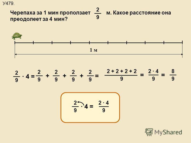 1 м 2 9 · 4 = 2 9 2 9 2 9 2 9 ++ + = Черепаха за 1 мин проползает м. Какое расстояние она преодолеет за 4 мин? 2 9 У479. 2 + 2 + 2 + 2 9 = 2 · 4 9 = 8 9 2 9 · 4 = 2 · 4 9
