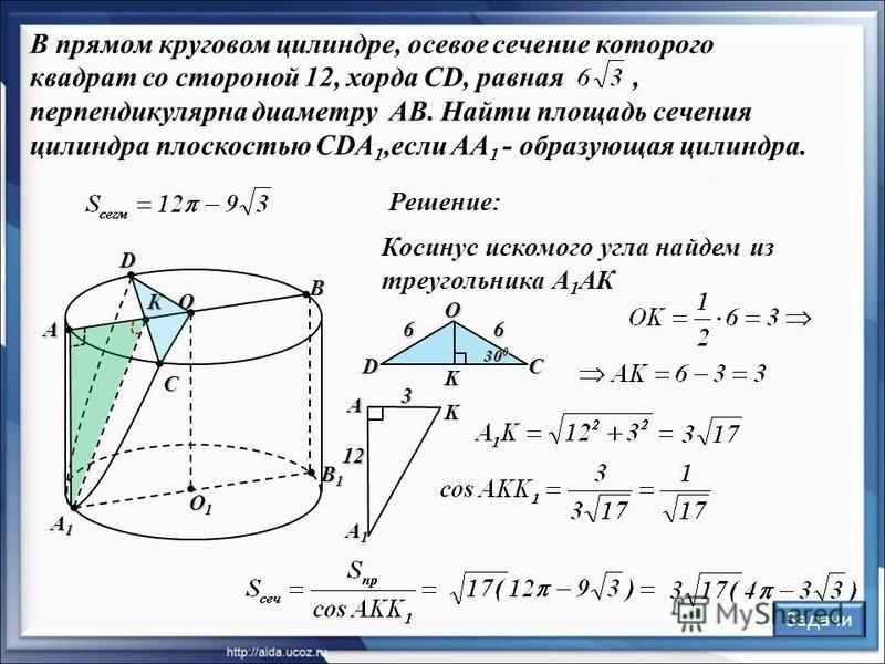 В прямом круговом цилиндре, осевое сечение которого квадрат со стороной 12, хорда CD, равная, перпендикулярна диаметру AB. Найти площадь сечения цилиндра плоскостью CDA 1,если AA 1 - образующая цилиндра. Решение: O1O1O1O1 O А В С D А1А1А1А1 Косинус и