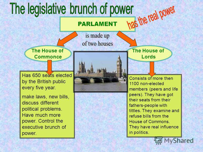 PARLAMENT The House of Commonce The House of Lords Has 650 seats elected by the British public every five year. make laws, new bills, discuss different political problems. Have much more power. Control the executive brunch of power. Consists of more
