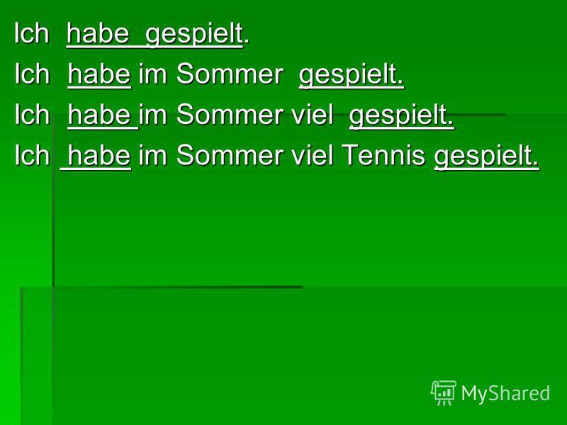 Ich habe gespielt. Ich habe gespielt. Ich habe im Sommer gespielt. Ich habe im Sommer gespielt. Ich habe im Sommer viel gespielt. Ich habe im Sommer viel gespielt. Ich habe im Sommer viel Tennis gespielt. Ich habe im Sommer viel Tennis gespielt.