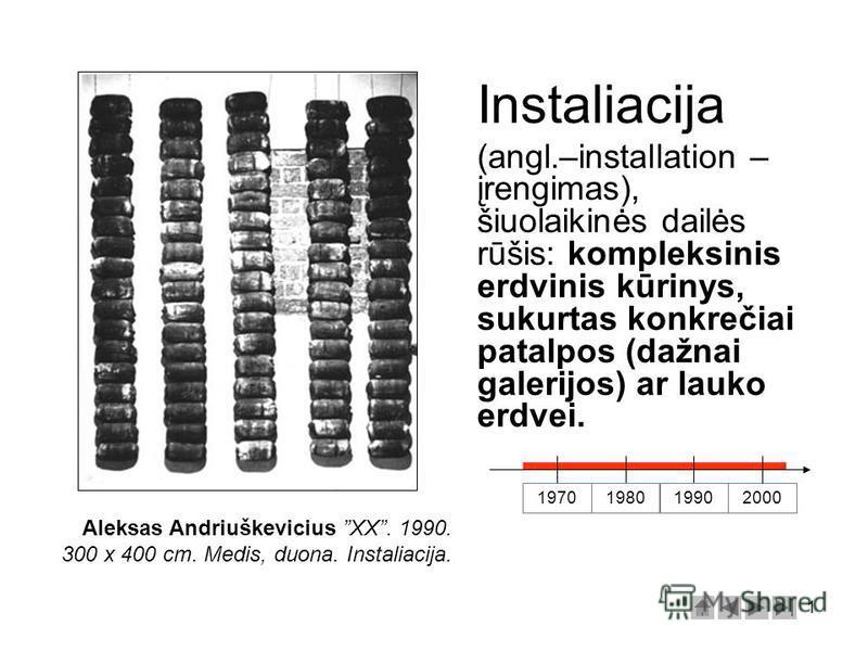1 Instaliacija (angl.–installation – įrengimas), šiuolaikinės dailės rūšis: kompleksinis erdvinis kūrinys, sukurtas konkrečiai patalpos (dažnai galerijos) ar lauko erdvei. 1970 198019902000 Aleksas Andriuškevicius XX. 1990. 300 x 400 cm. Medis, duona