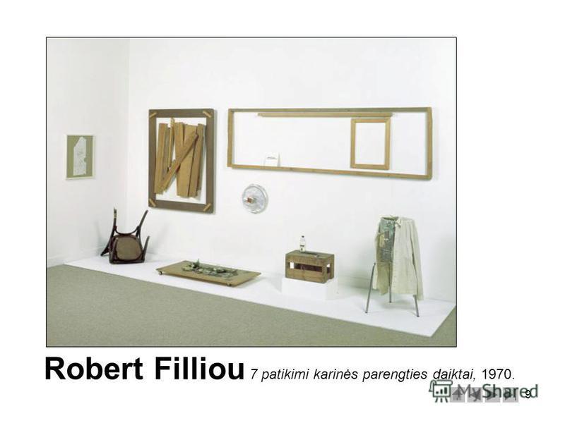 9 Robert Filliou 7 patikimi karinės parengties daiktai, 1970.