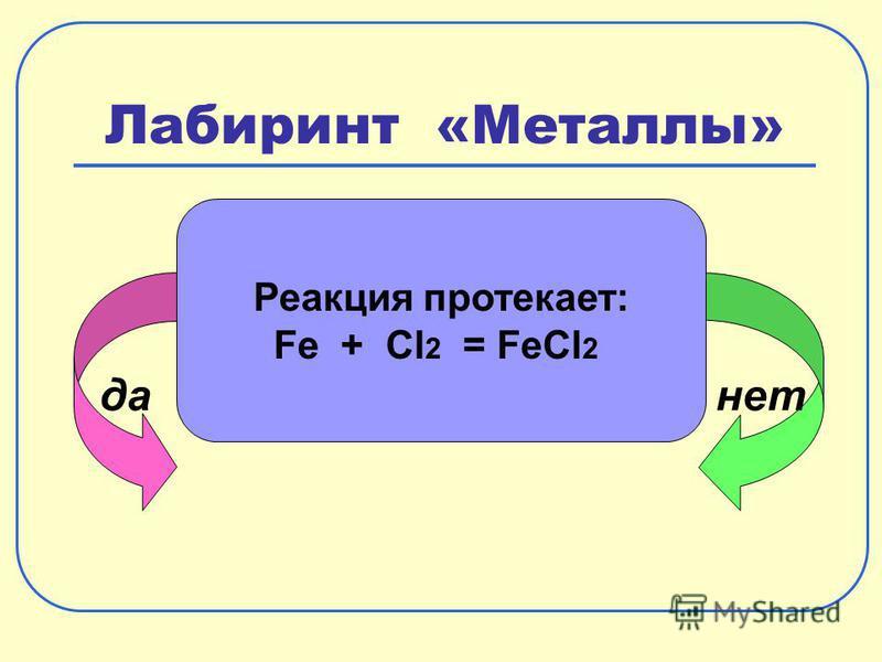 Лабиринт «Металлы» да-нет Реакция протекает: Fe + Cl 2 = FeCl 2