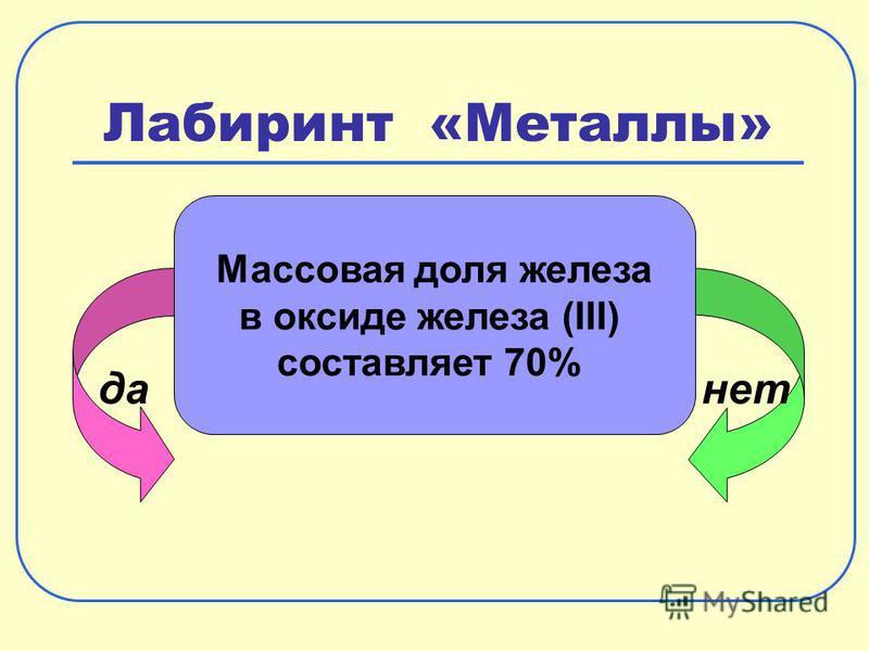 Лабиринт «Металлы» да-нет Массовая доля железа в оксиде железа (III) составляет 70%