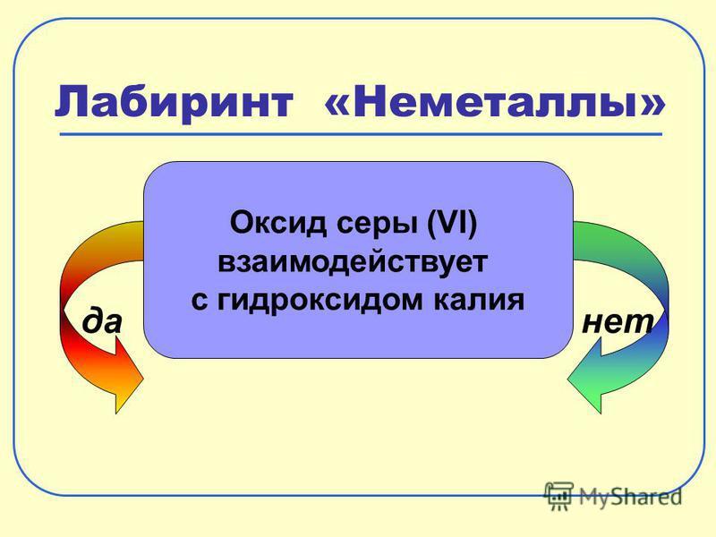 Лабиринт «Неметаллы» да-нет Оксид серы (VI) взаимодействует с гидроксидом калия