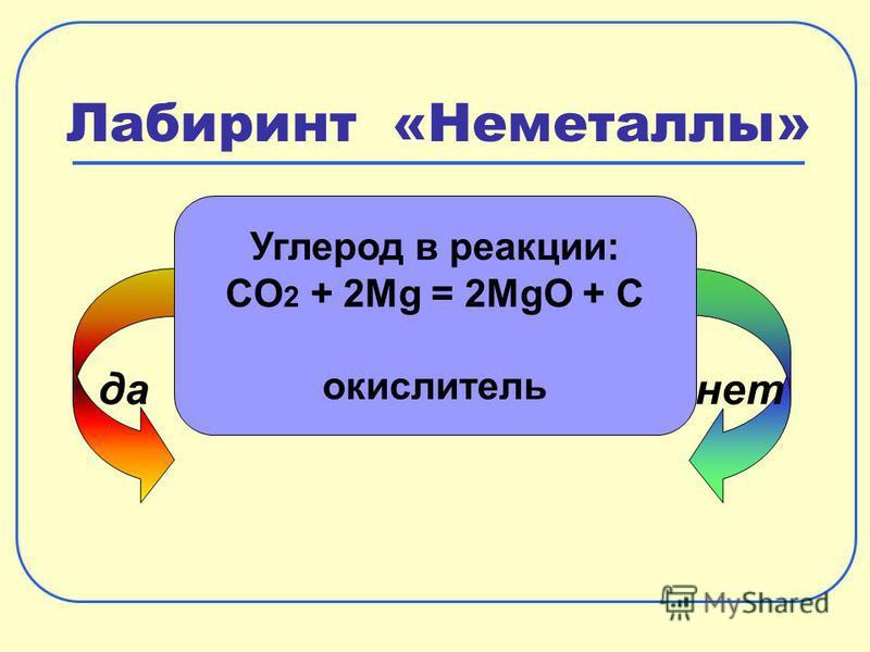 Лабиринт «Неметаллы» да-нет Углерод в реакции: CO 2 + 2Mg = 2MgO + C окислитель