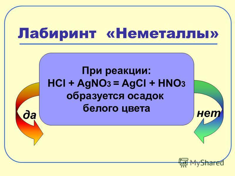 Лабиринт «Неметаллы» да нет При реакции: HCl + AgNO 3 = AgCl + HNO 3 образуется осадок белого цвета