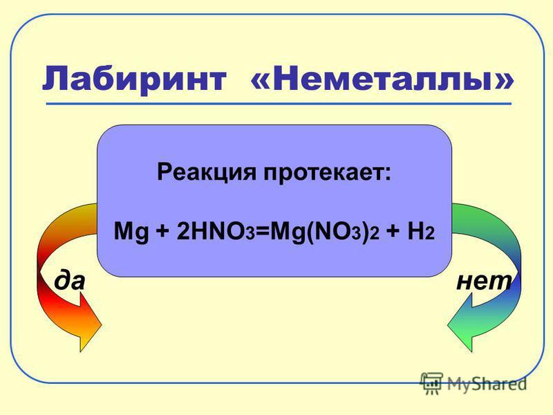 Лабиринт «Неметаллы» да-нет Реакция протекает: Mg + 2HNO 3 =Mg(NO 3 ) 2 + H 2