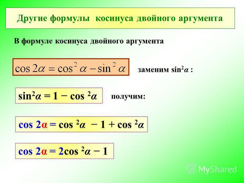 Другие формулы косинуса двойного аргумента В формуле косинуса двойного аргумента sin 2 α = 1 cos 2 α cos 2α = cos 2 α 1 + cos 2 α cos 2α = 2cos 2 α 1 заменим sin 2 α : получим: