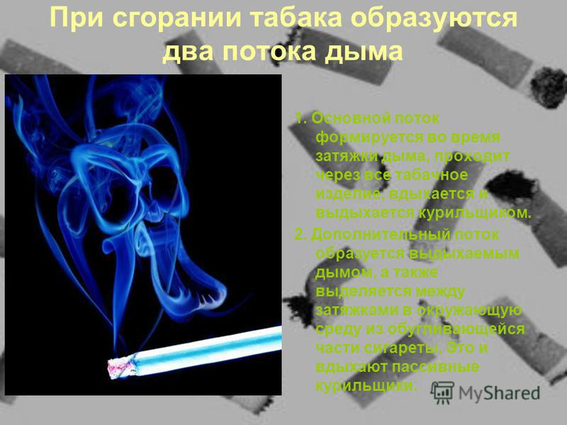 При сгорании табака образуются два потока дыма 1. Основной поток формируется во время затяжки дыма, проходит через все табачное изделие, вдыхается и выдыхается курильщиком. 2. Дополнительный поток образуется выдыхаемым дымом, а также выделяется между