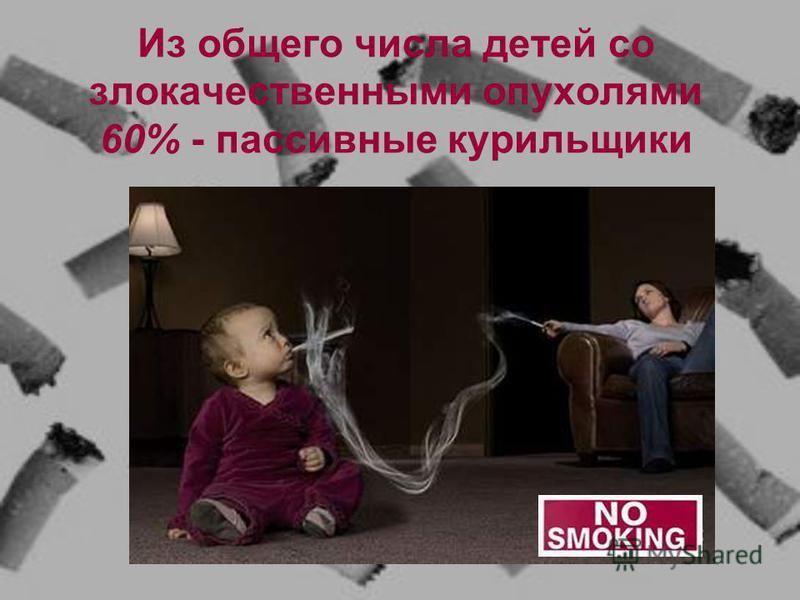 Из общего числа детей со злокачественными опухолями 60% - пассивные курильщики