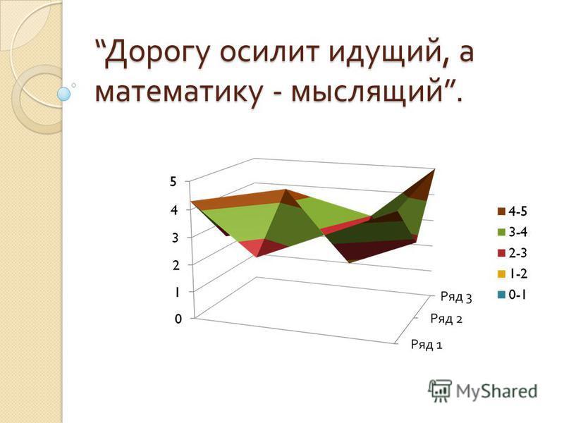 Дорогу осилит идущий, а математику - мыслящий. Дорогу осилит идущий, а математику - мыслящий.